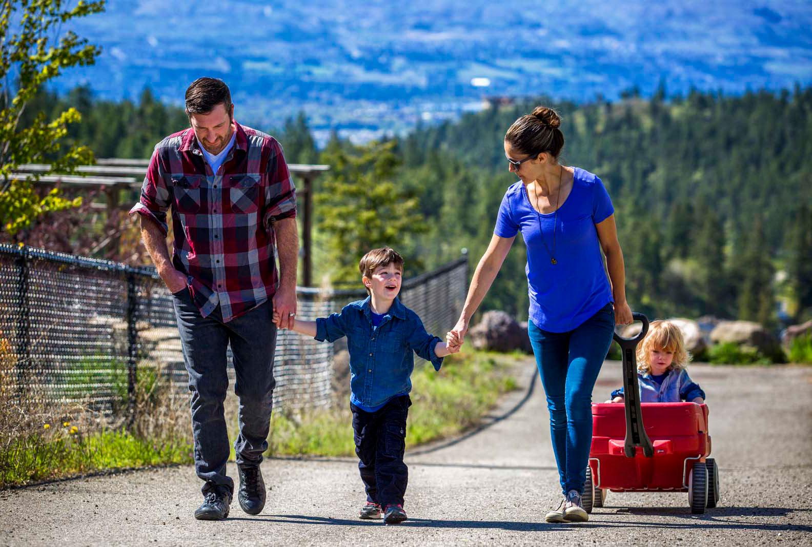 Family walking in Wilden neighbourhood - Kelowna