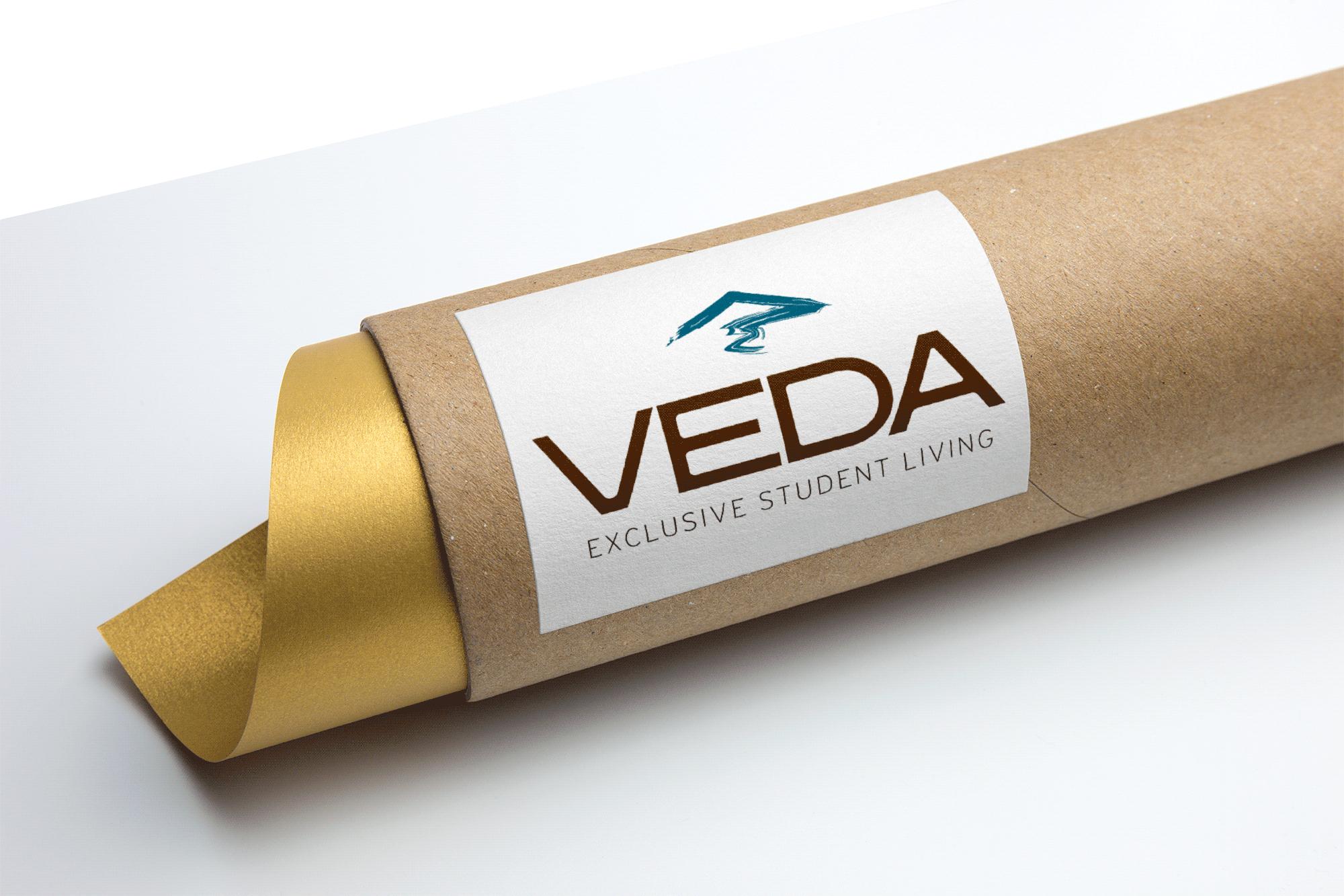 VEDA Cardboard Tube Packaging Logo MockUp