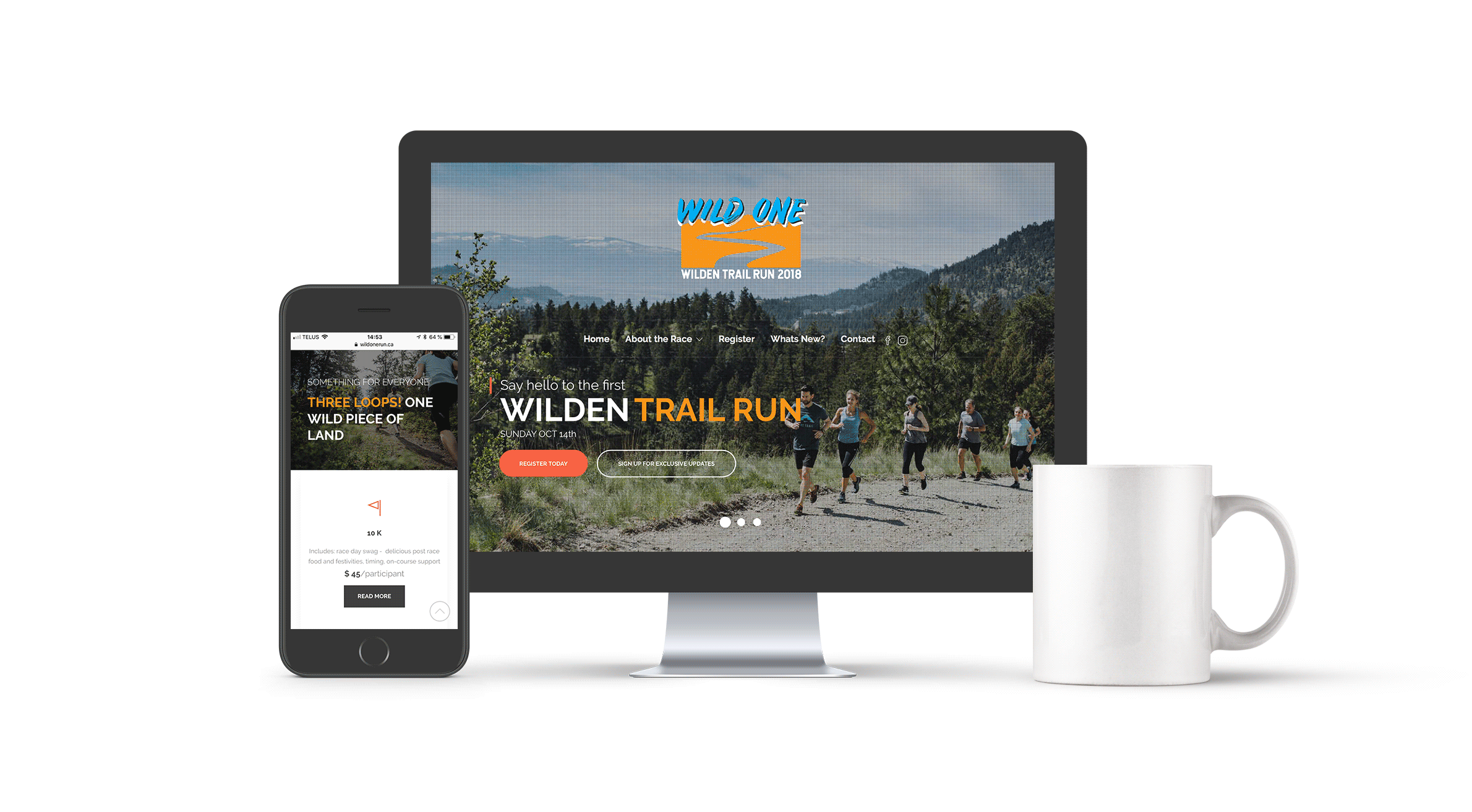 Wild One Run Website Mockup